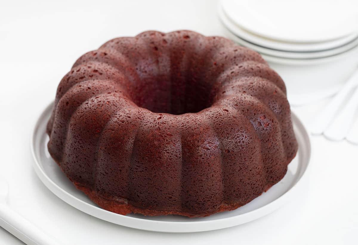 Whole Unfrosted Red Velvet Pound Cake on Cake Platter