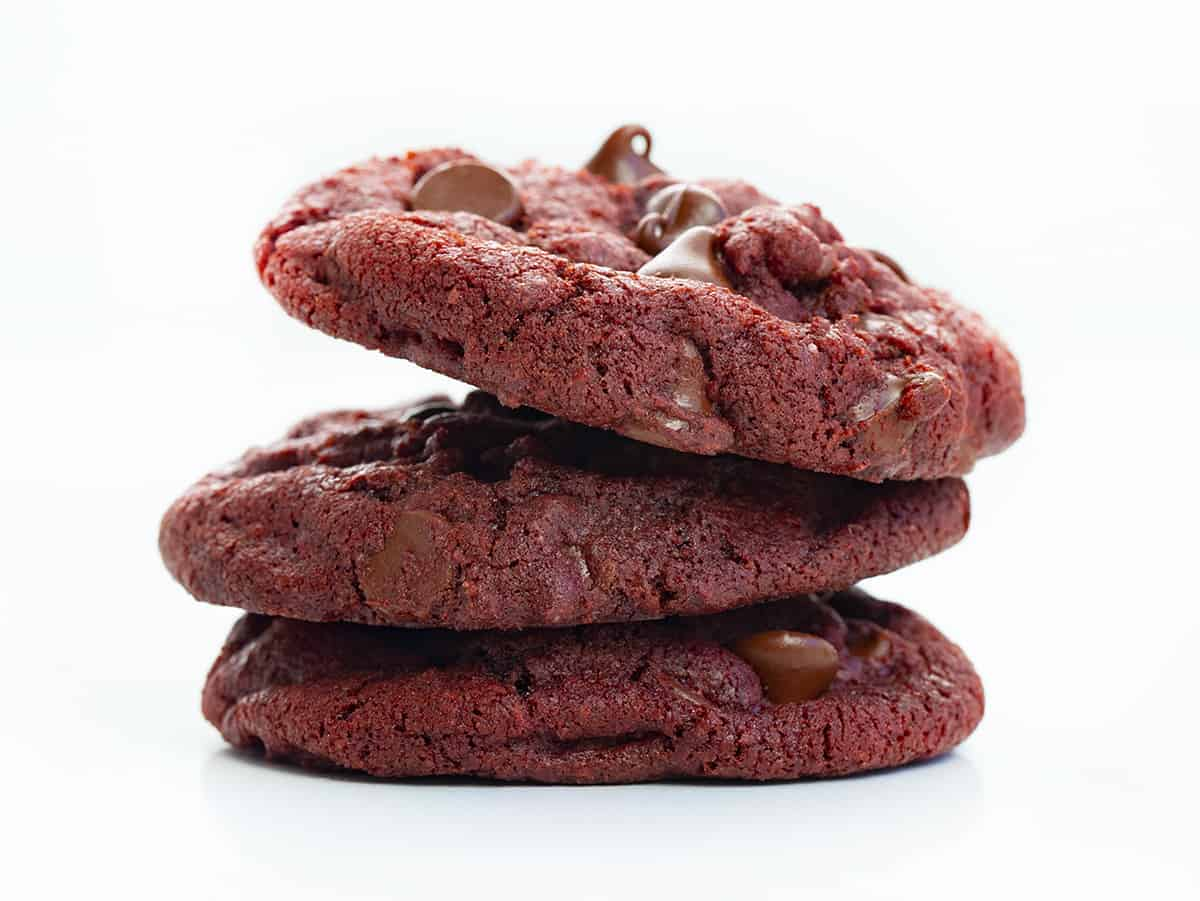 Stacked Red Velvet Chocolate Chip Cookies