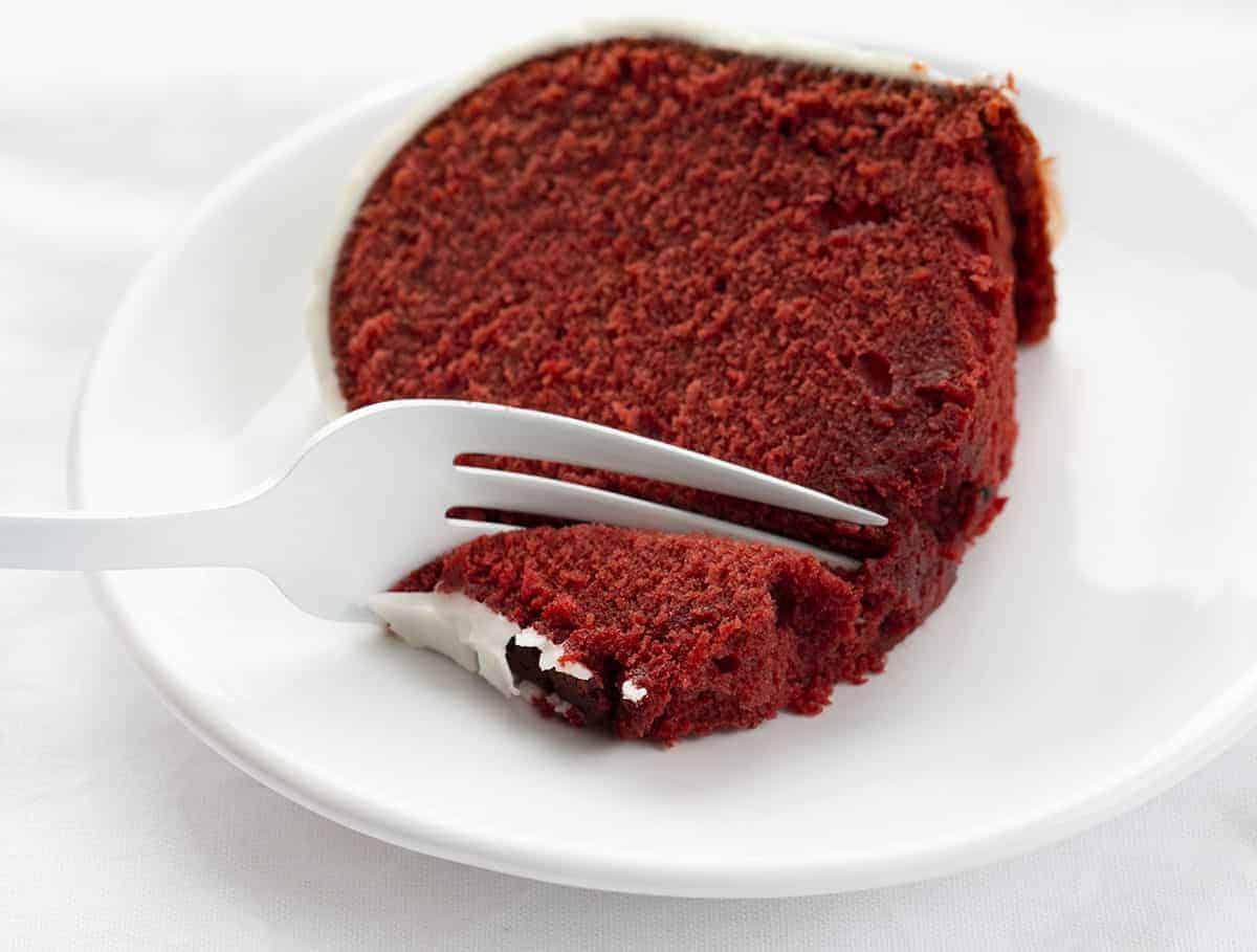Fork Taking Bite of Red Velvet Pound Cake