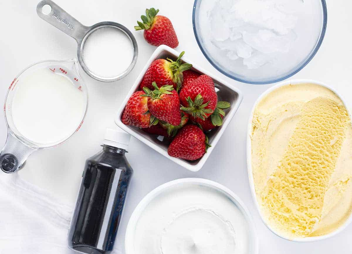 Ingredients for Copycat Starbucks Strawberry Frappuccino