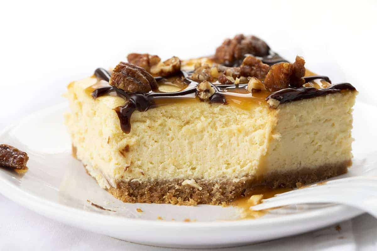 Turtle Cheesecake Bar with Bite Removed