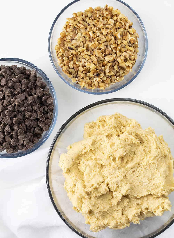 Raw Ingredients for Walnut Chocolate Chip Cookies - Doubletree Copycat Cookie