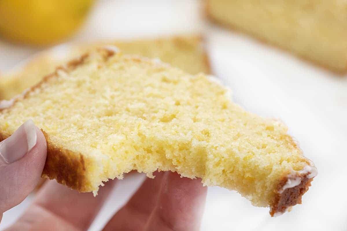 Bit into Slice of Lemon Loaf
