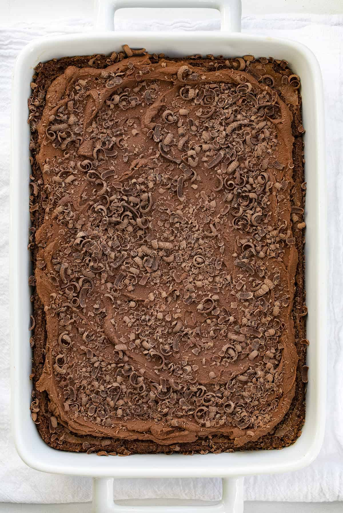Overhead of Chocolate Mousse Brownies in White Pan