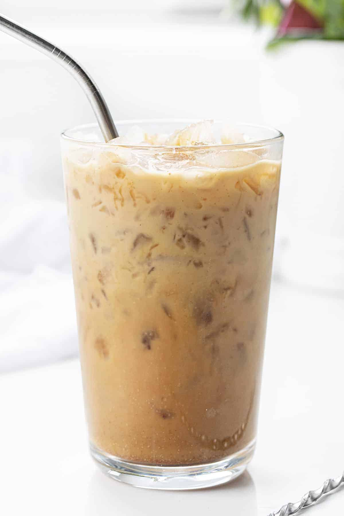 Copycat Starbucks Iced Brown Sugar Oat Milk Espresso Drink with Straw