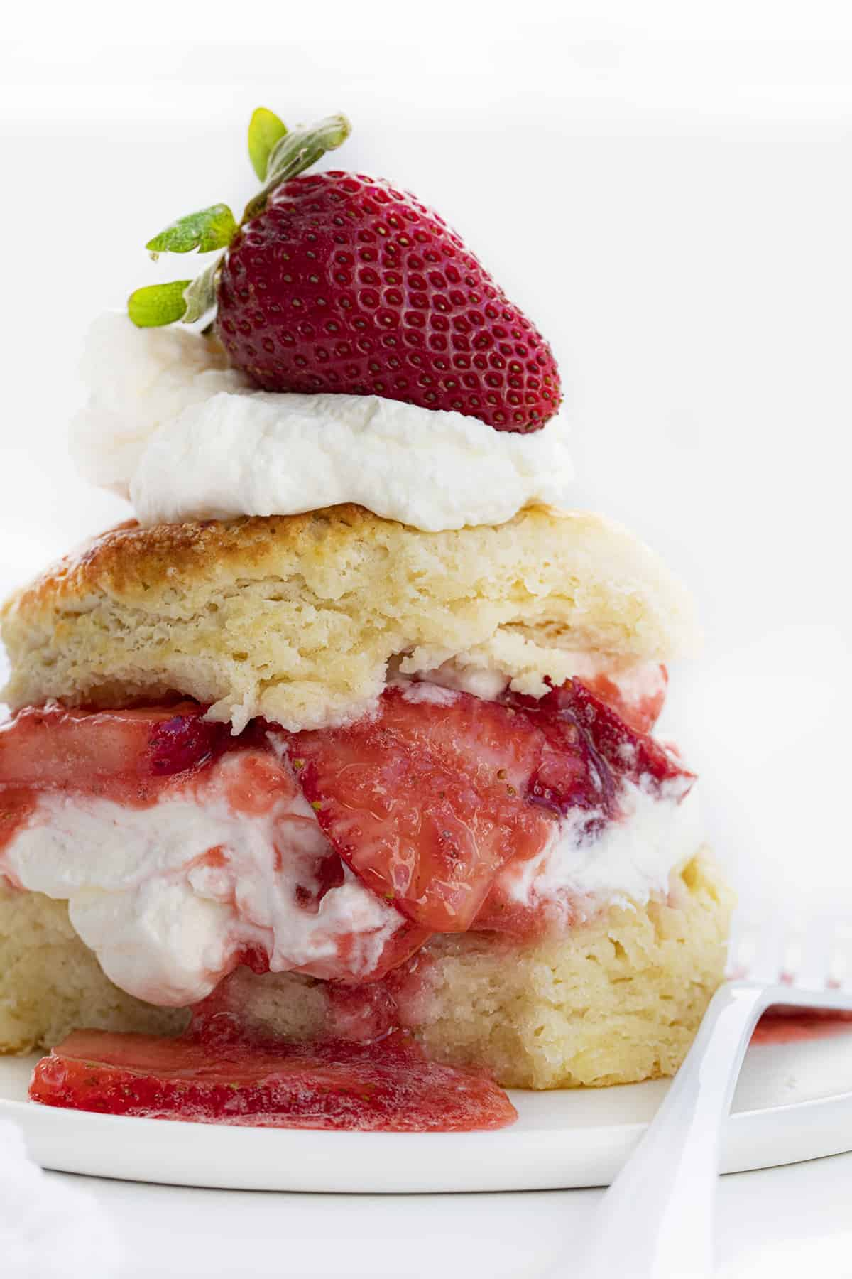 Real Strawberry Shortcake Stacked High with Strawberry on Top
