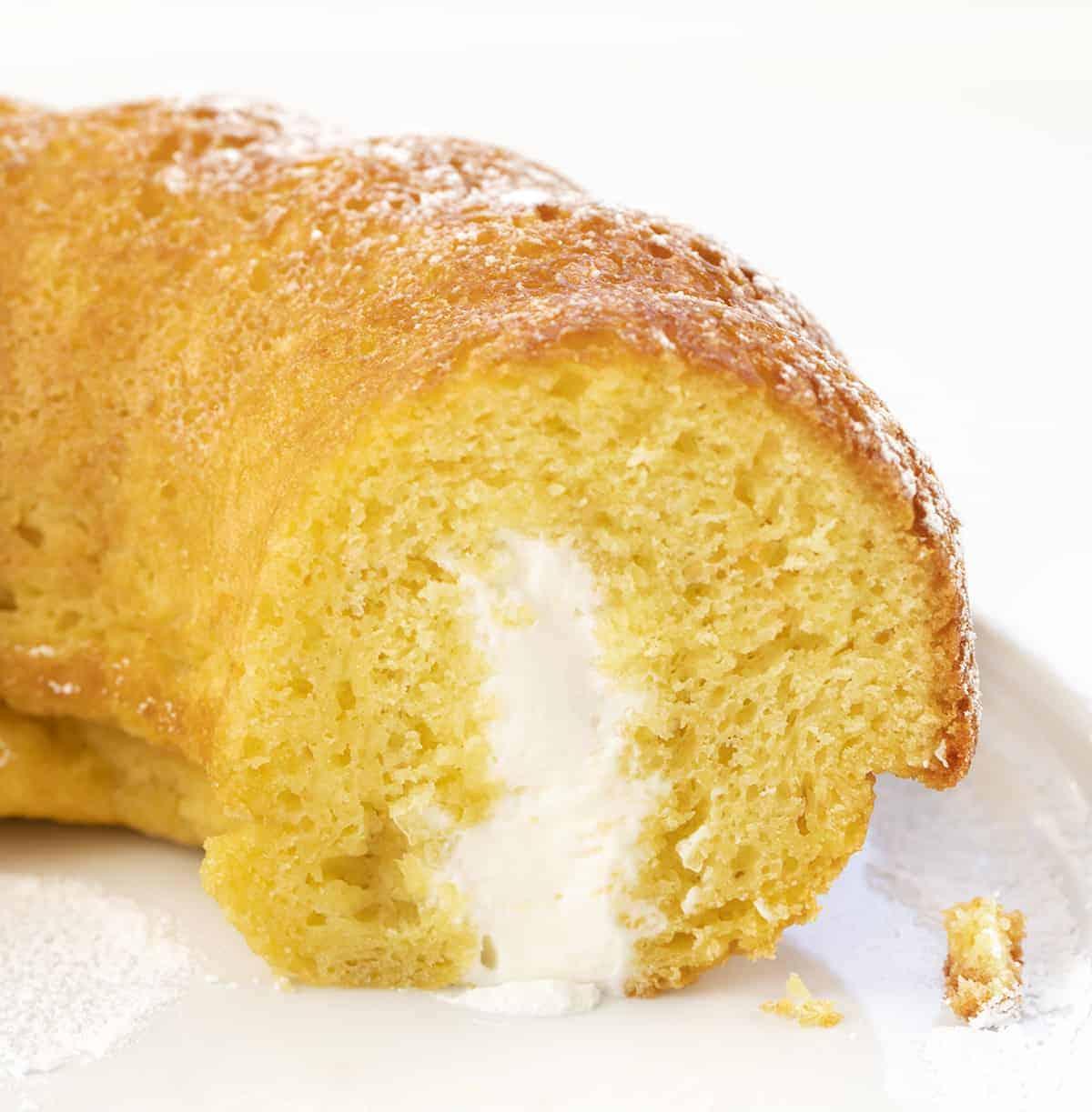 Sliced Into Cream Filled Yellow Cake {Twinkies Copycat}