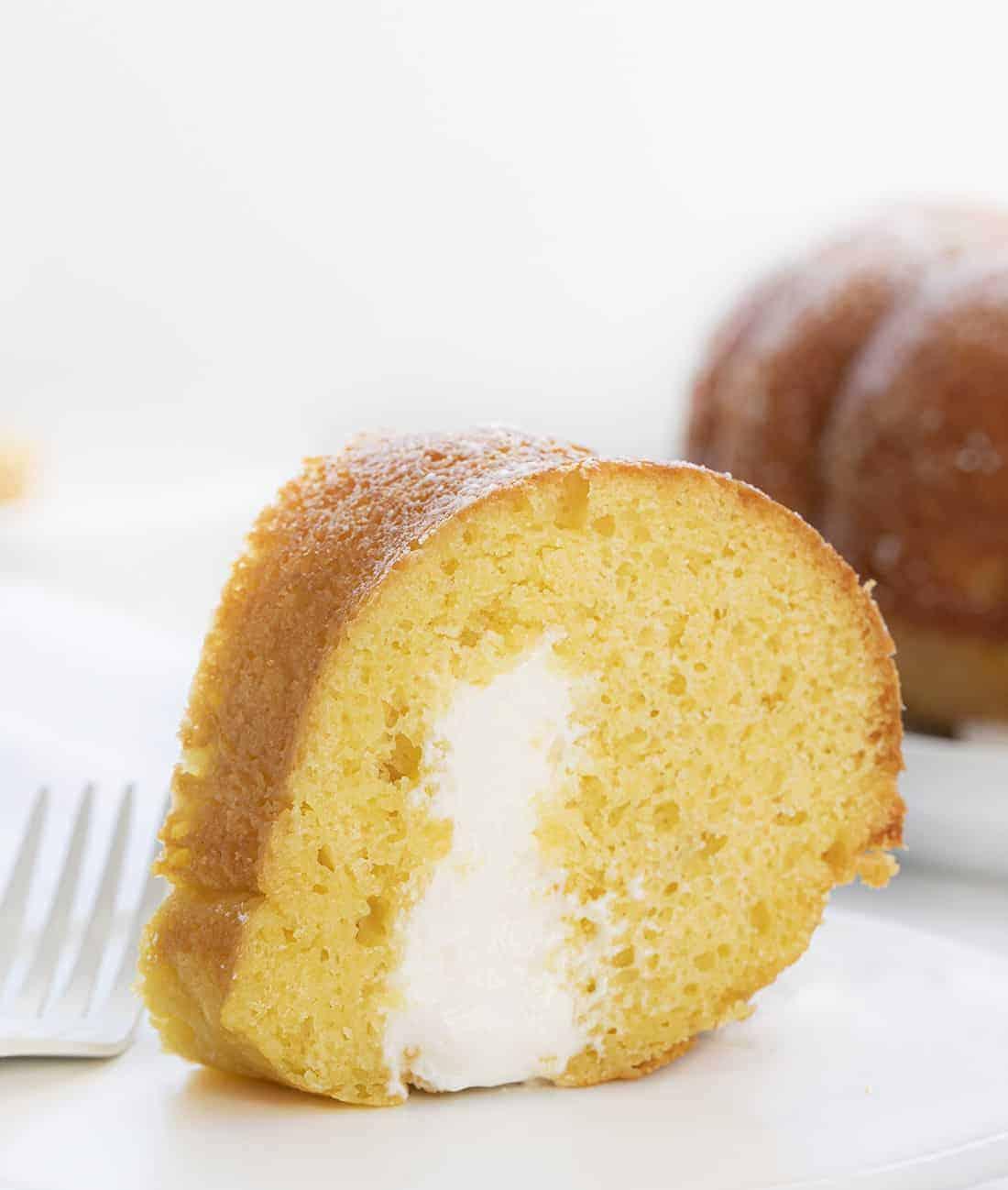 Slice of Cream Filled Yellow Cake {Twinkies Copycat}