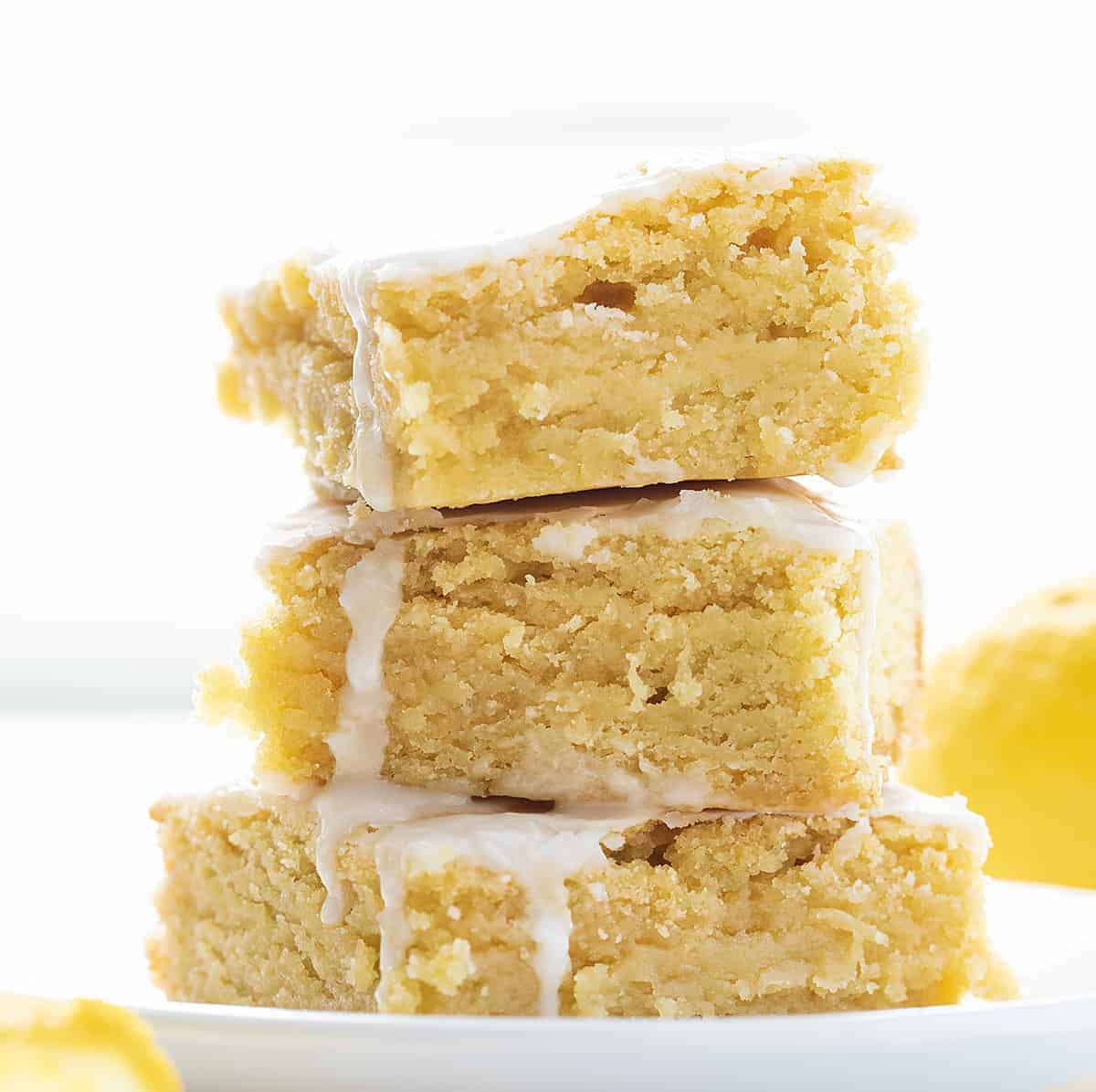 Stack of Lemon Brownies on Plate