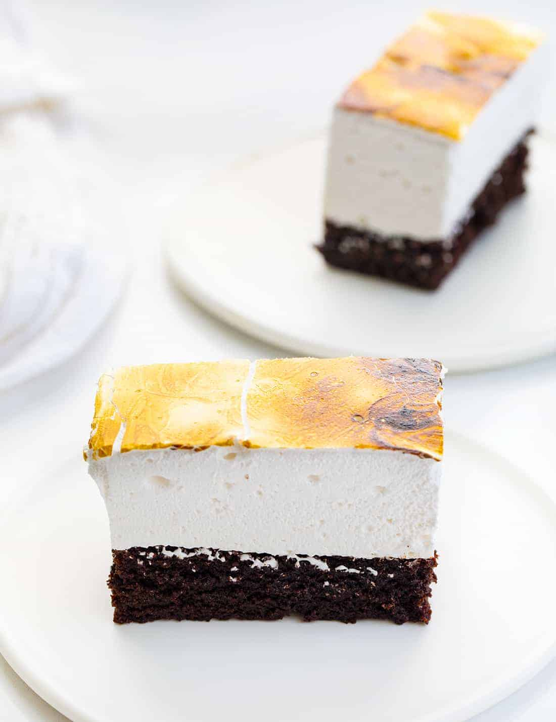 Toasted Marshmallow Brownies on Plates