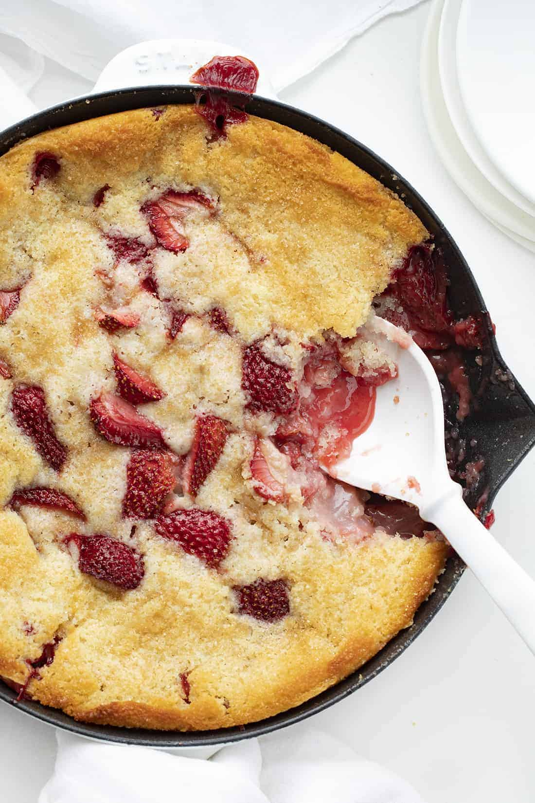 Skillet with Strawberry Cobbler