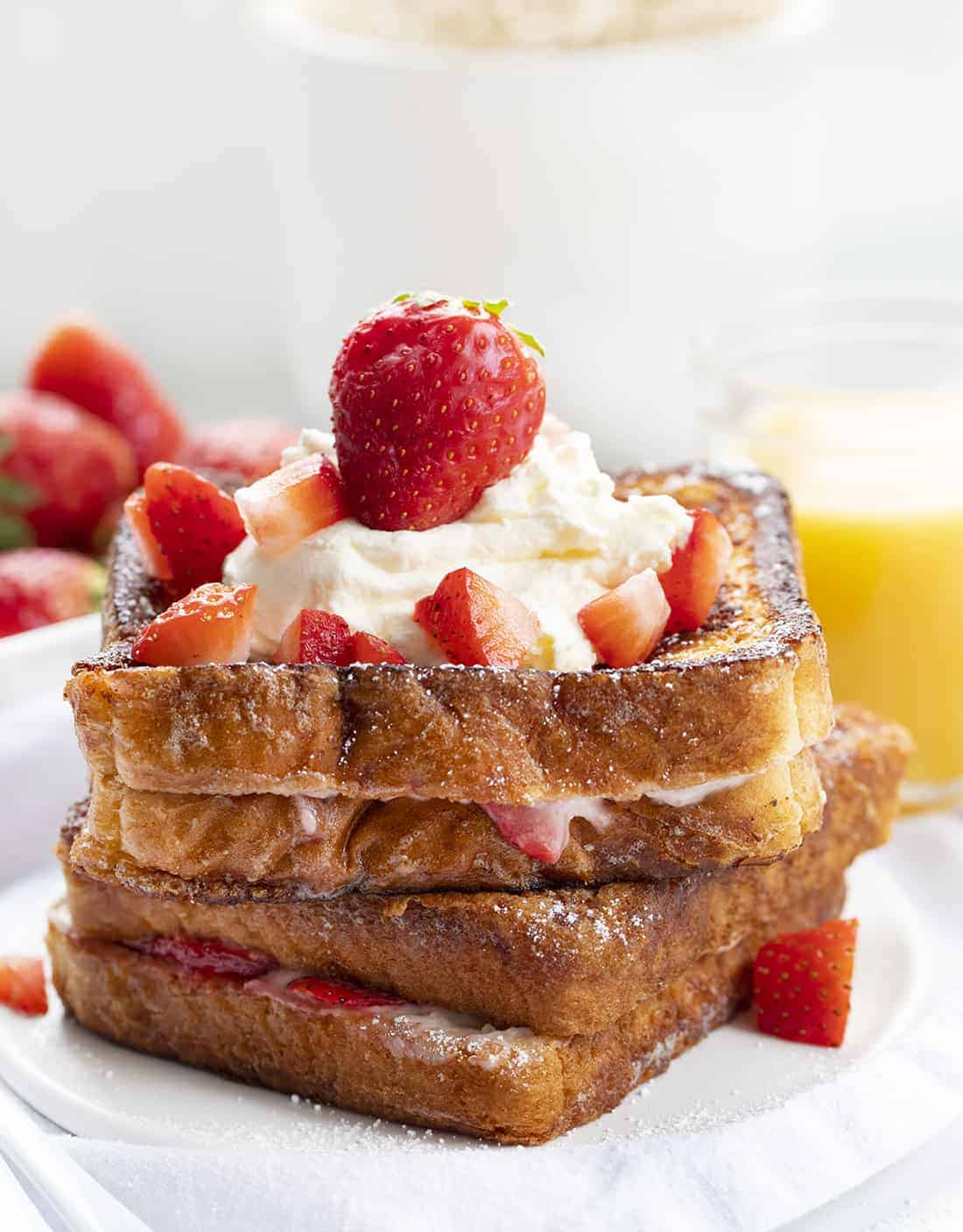 Strawberry Stuffed French Toast on a Plate