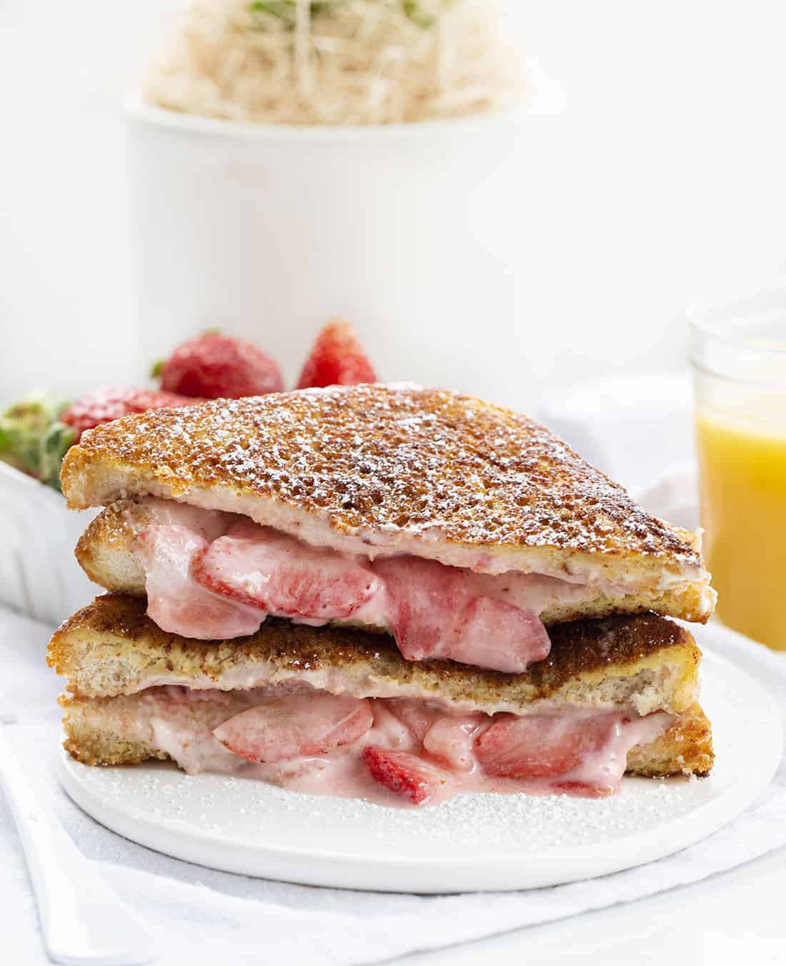 Plate of Stuffed French Toast with Strawberries