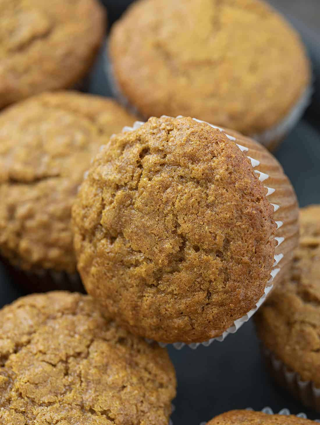 Bran Muffin Stacked on Its Side