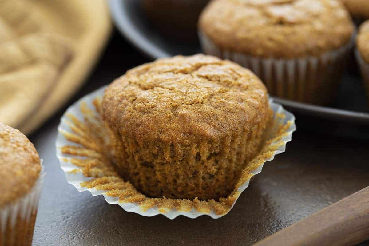 Bran Muffin with Wrapper Pulled Off