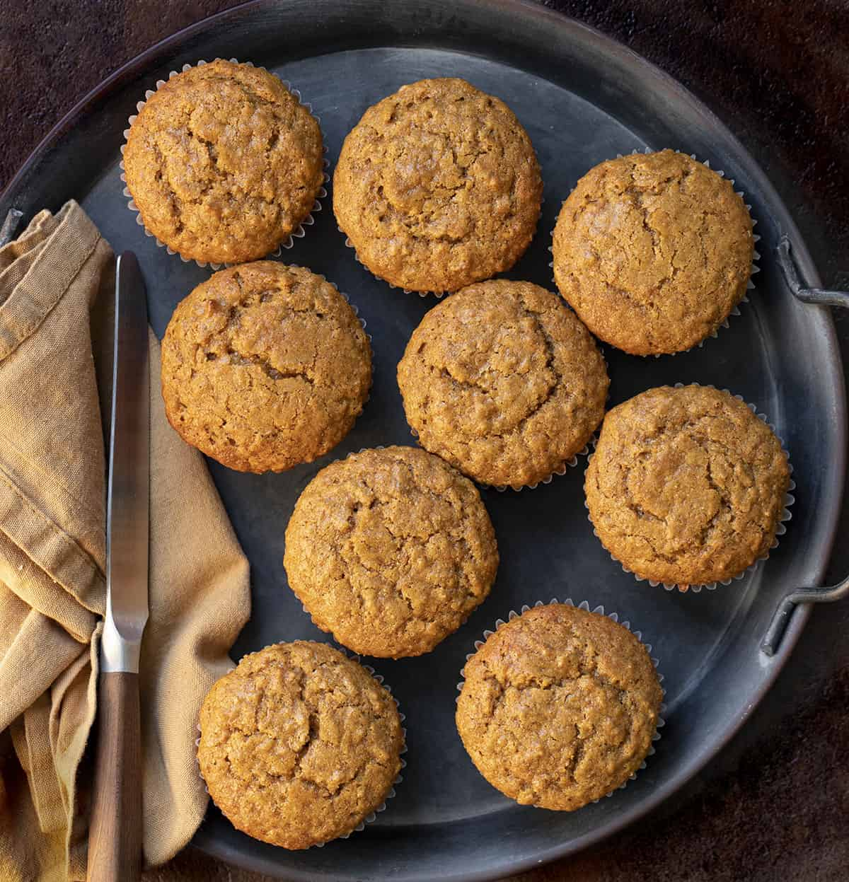 Bran Muffins from Overhead with Butter KNife