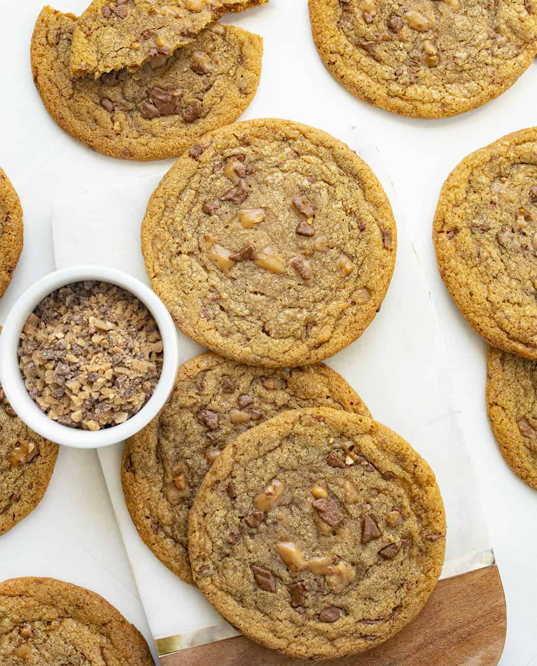 Overhead of Brown Butter Toffee Cookies Recipe