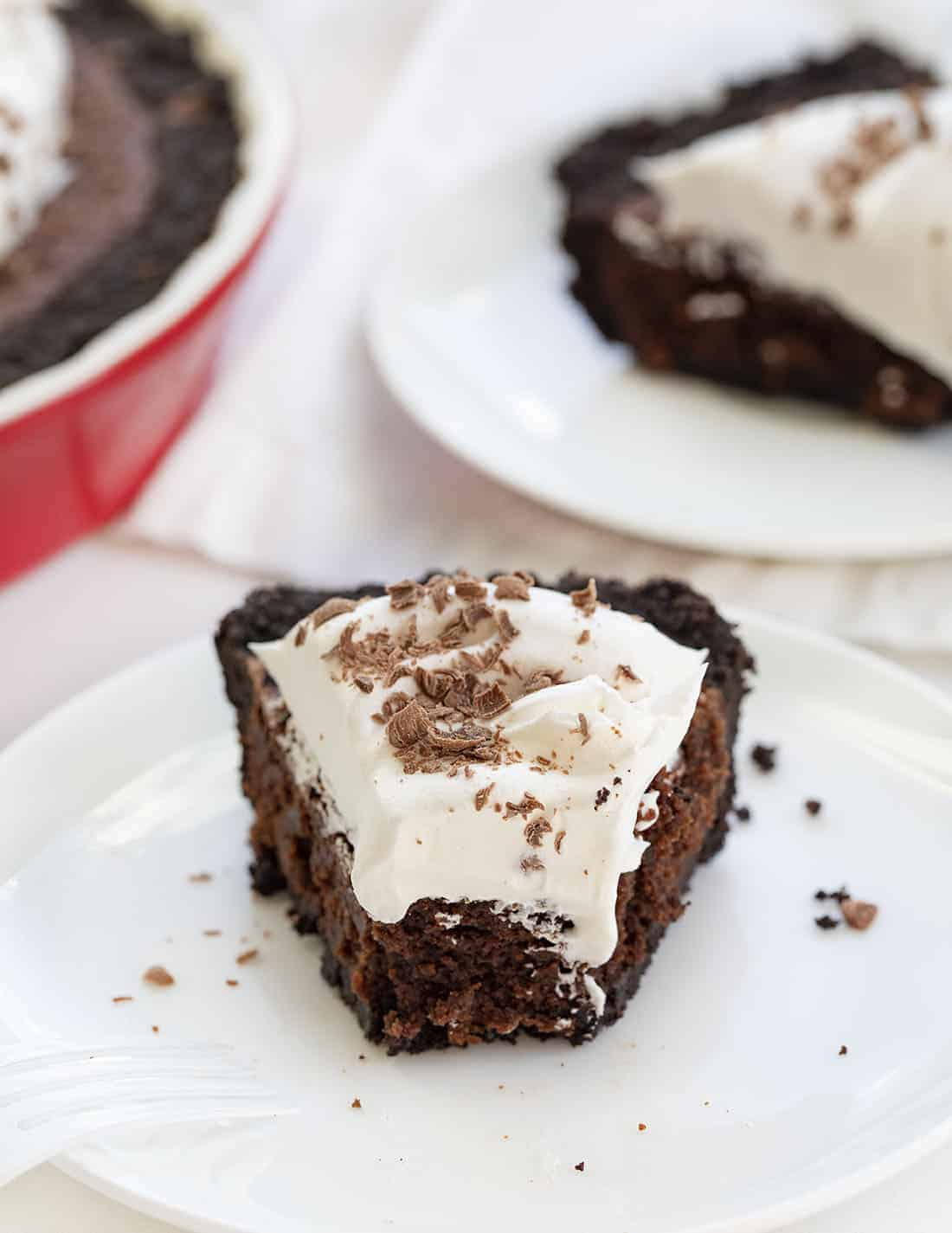 Pieces of Brownie Pie on Plates
