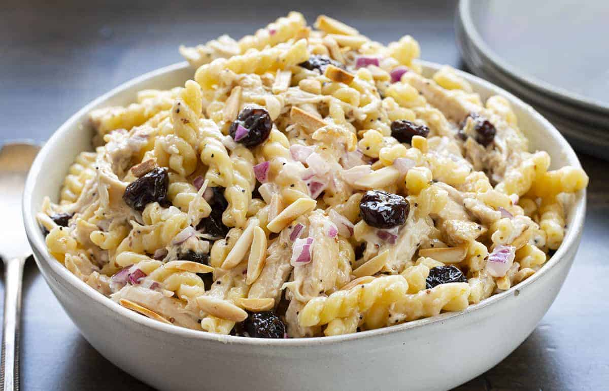 Cherry Chicken Pasta Salad in Bowl