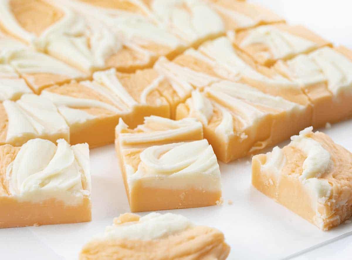 Cut Orange Creamsicle Fudge
