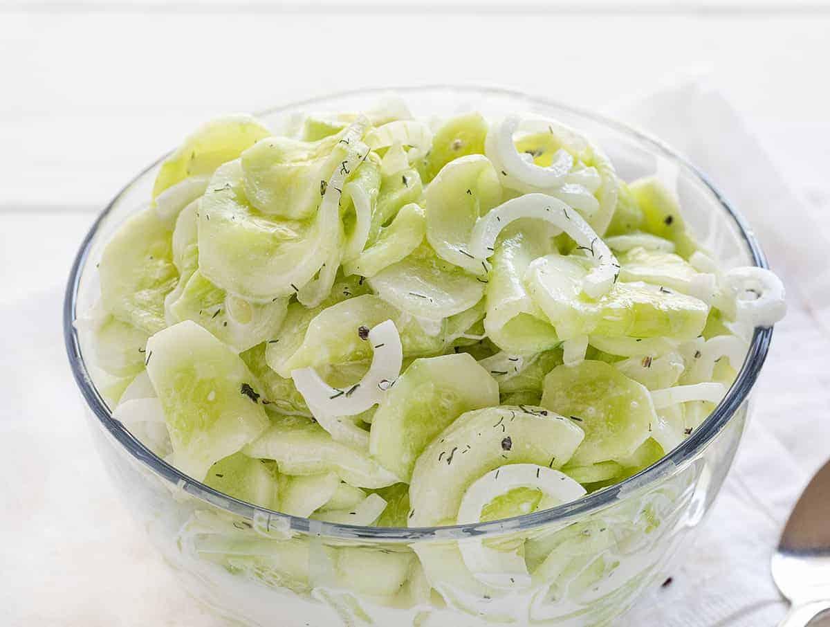 German Cucumber Salad in glass bowl