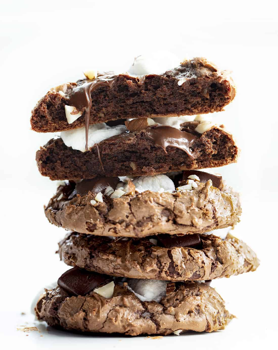Stack of Rocky Road Cookies