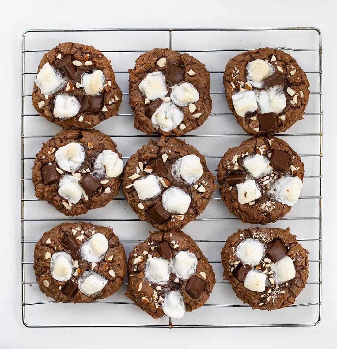 Rocky Road Cookies from Overhead on Cooling Rack