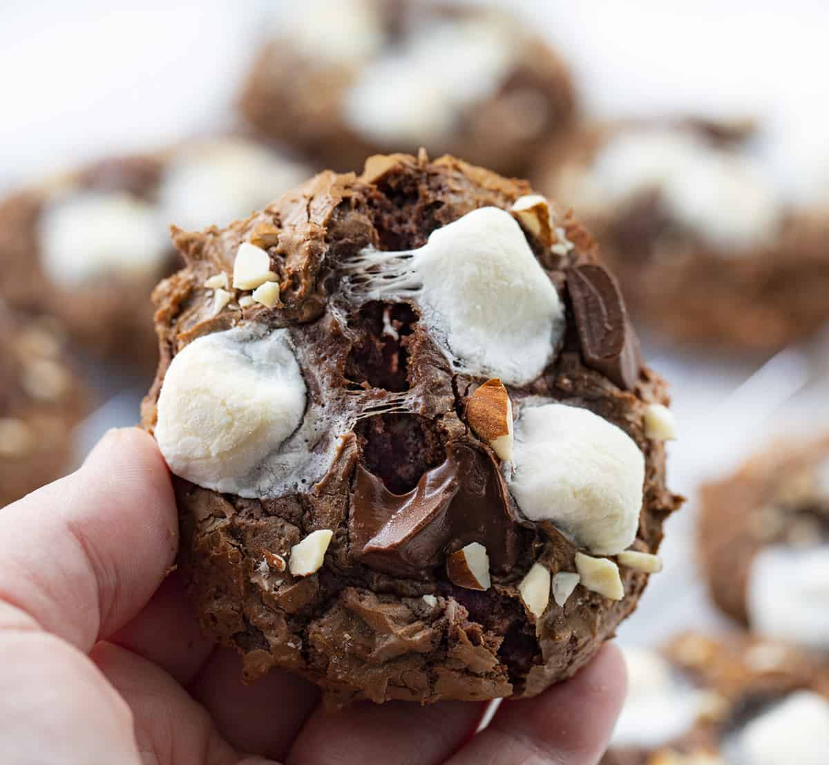 Hand Holding Rocky Road Cookies