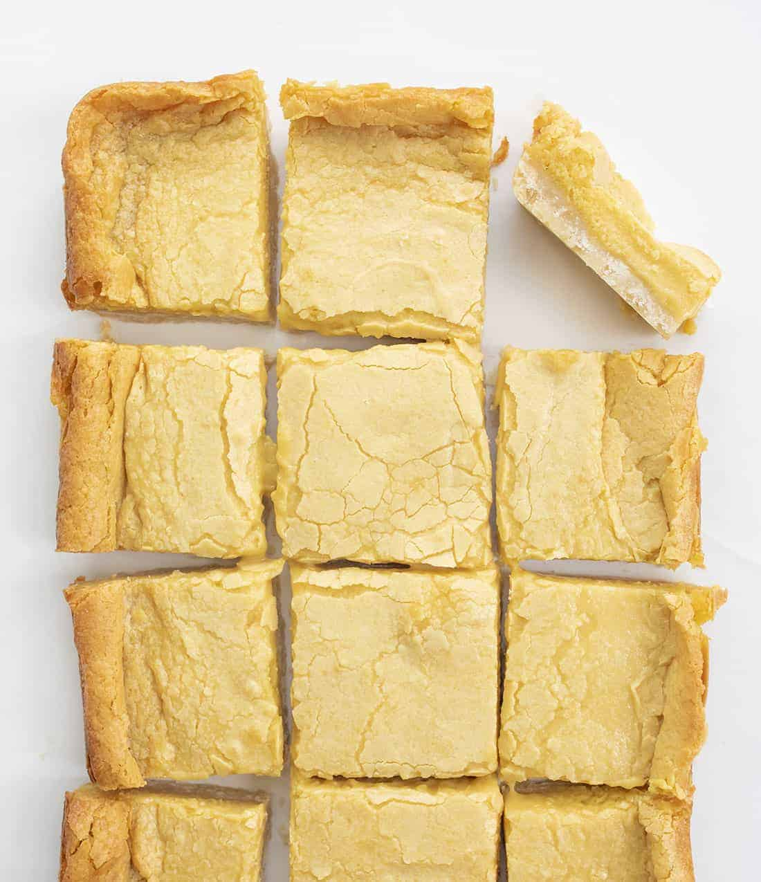 Overhead of Ooey Gooey Butter Bars Cut Into Pieces