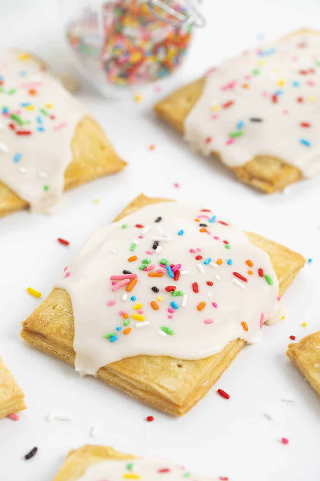 Frosted Strawberry Homemade Pop Tarts with Sprinkles