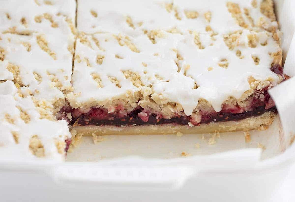 Raspberry Oatmeal Bars Cut Into in Pan