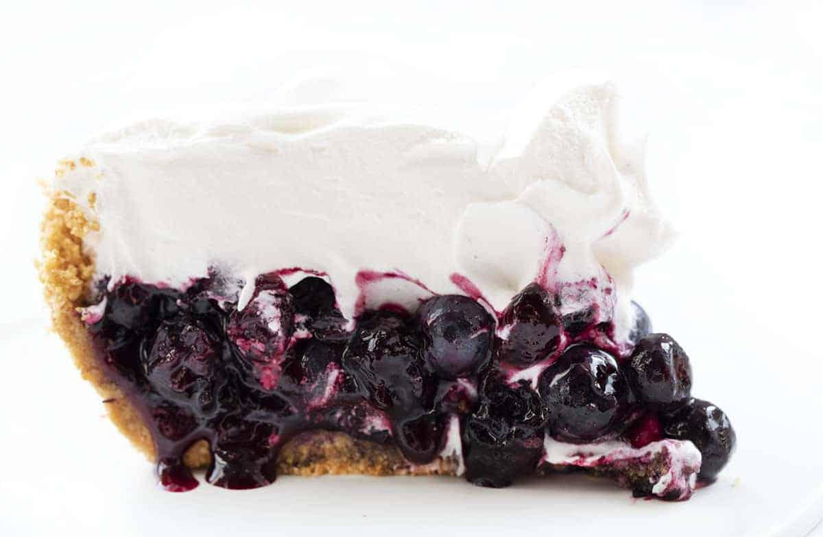 Slice of No Bake Blueberry Pie