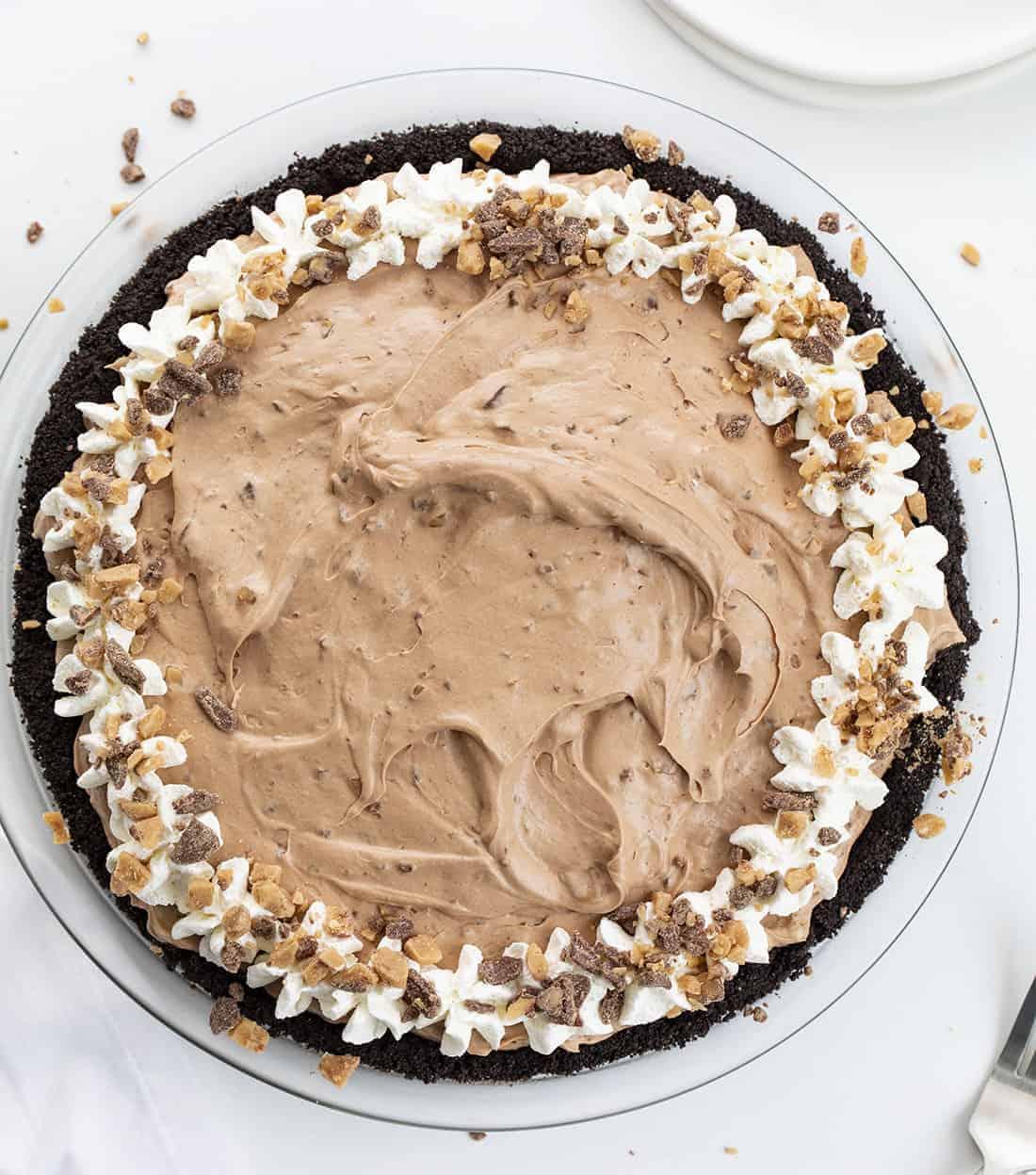 Overhead Image of Uncut Chocolate Heath Pie