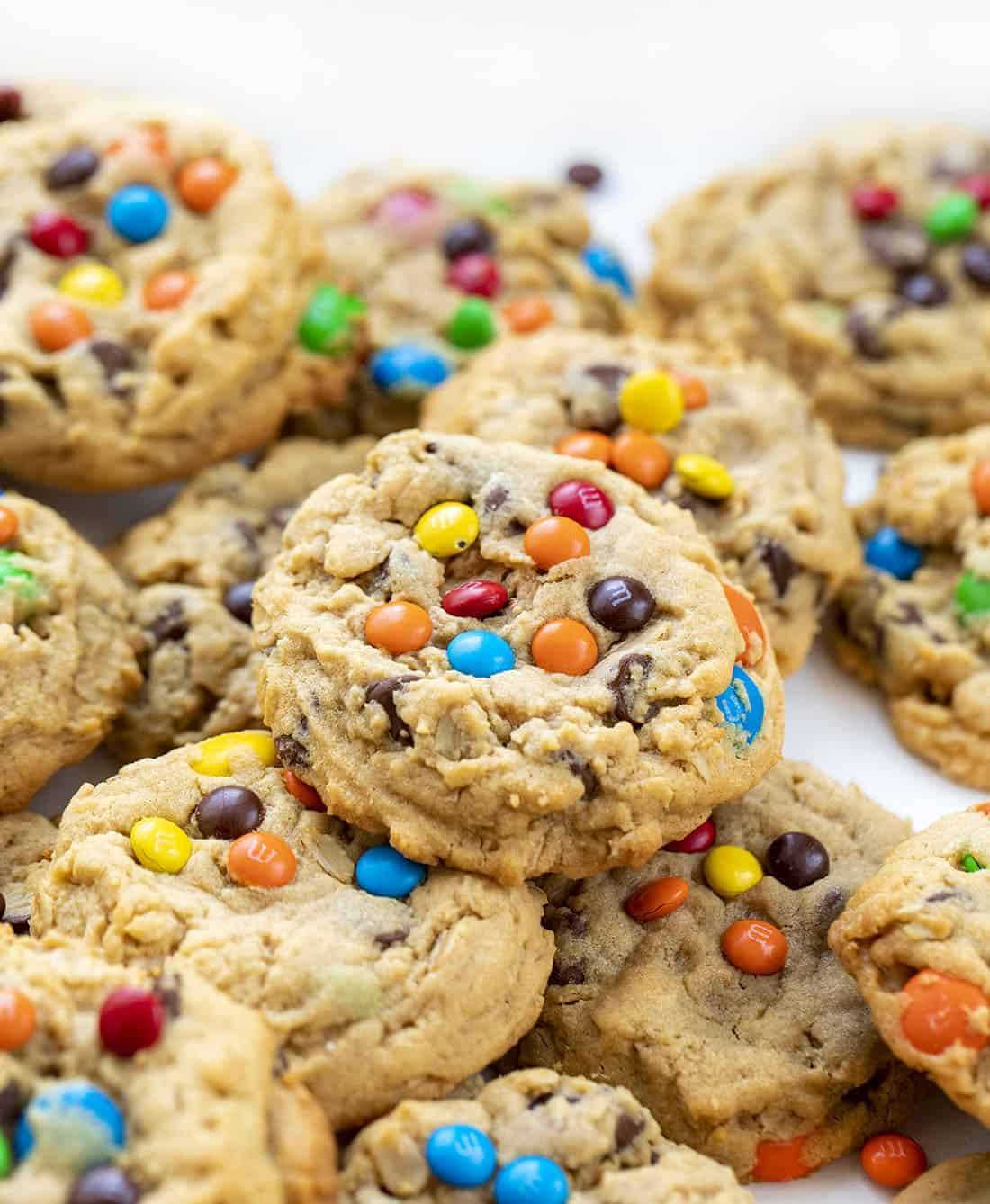 Stacked Soft Batch Monster Cookies