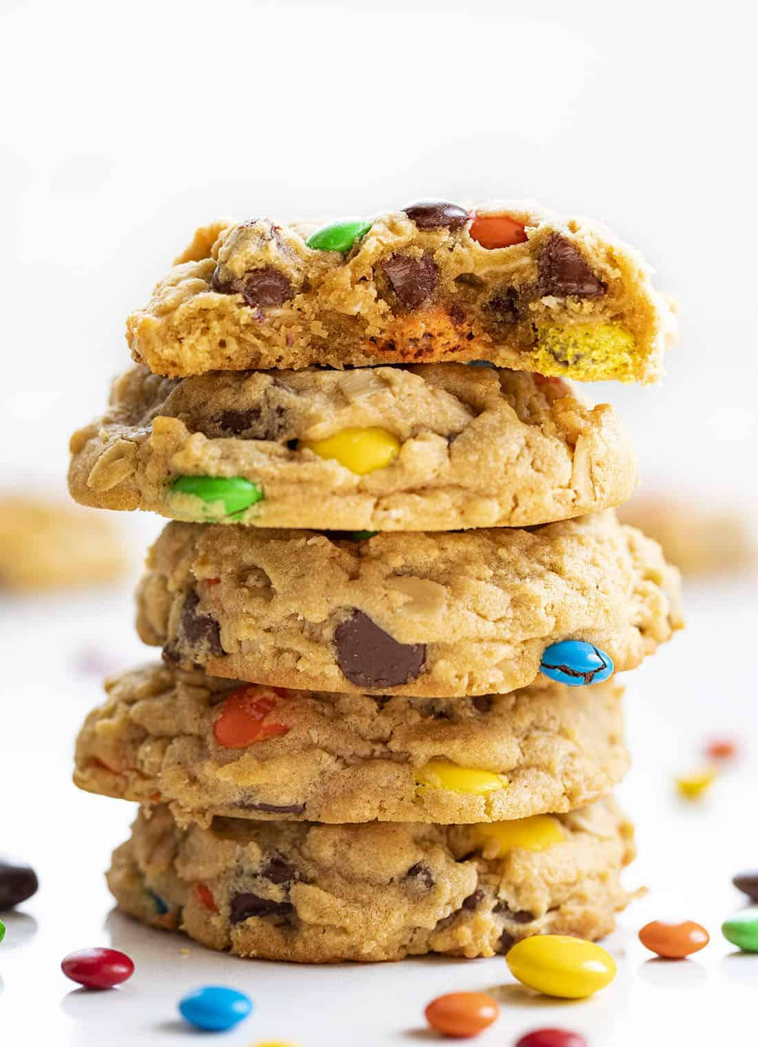 Stack of Soft Batch Monster Cookies