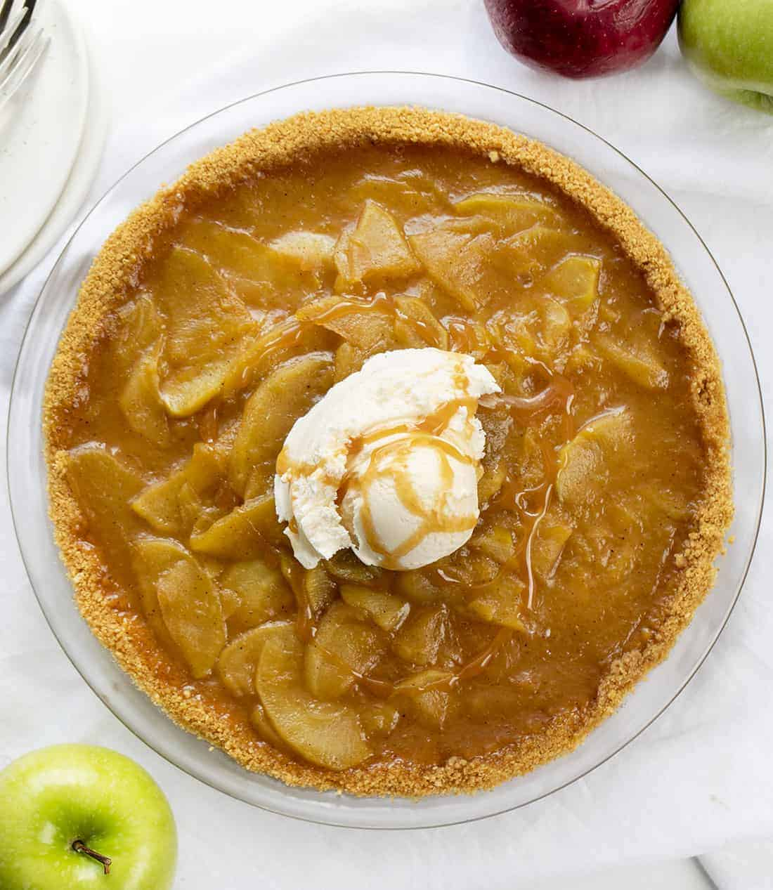 No Bake Apple Pie Recipe in Glass Pie Dish from Overhead