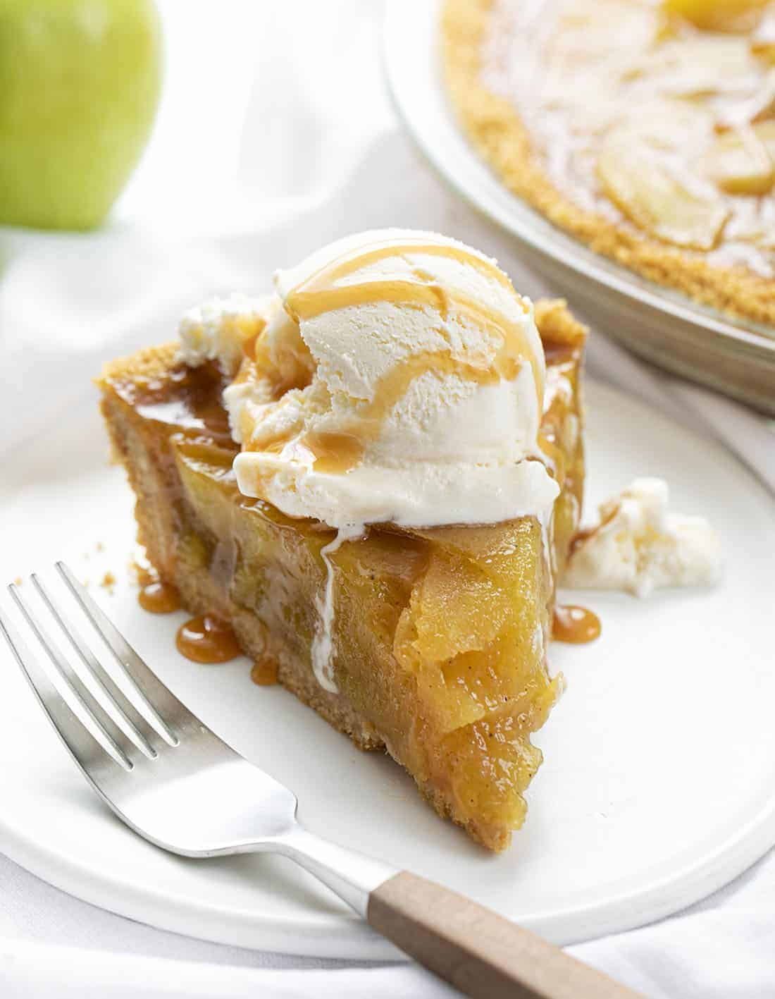 Slice of No Bake Apple Pie on a Plate