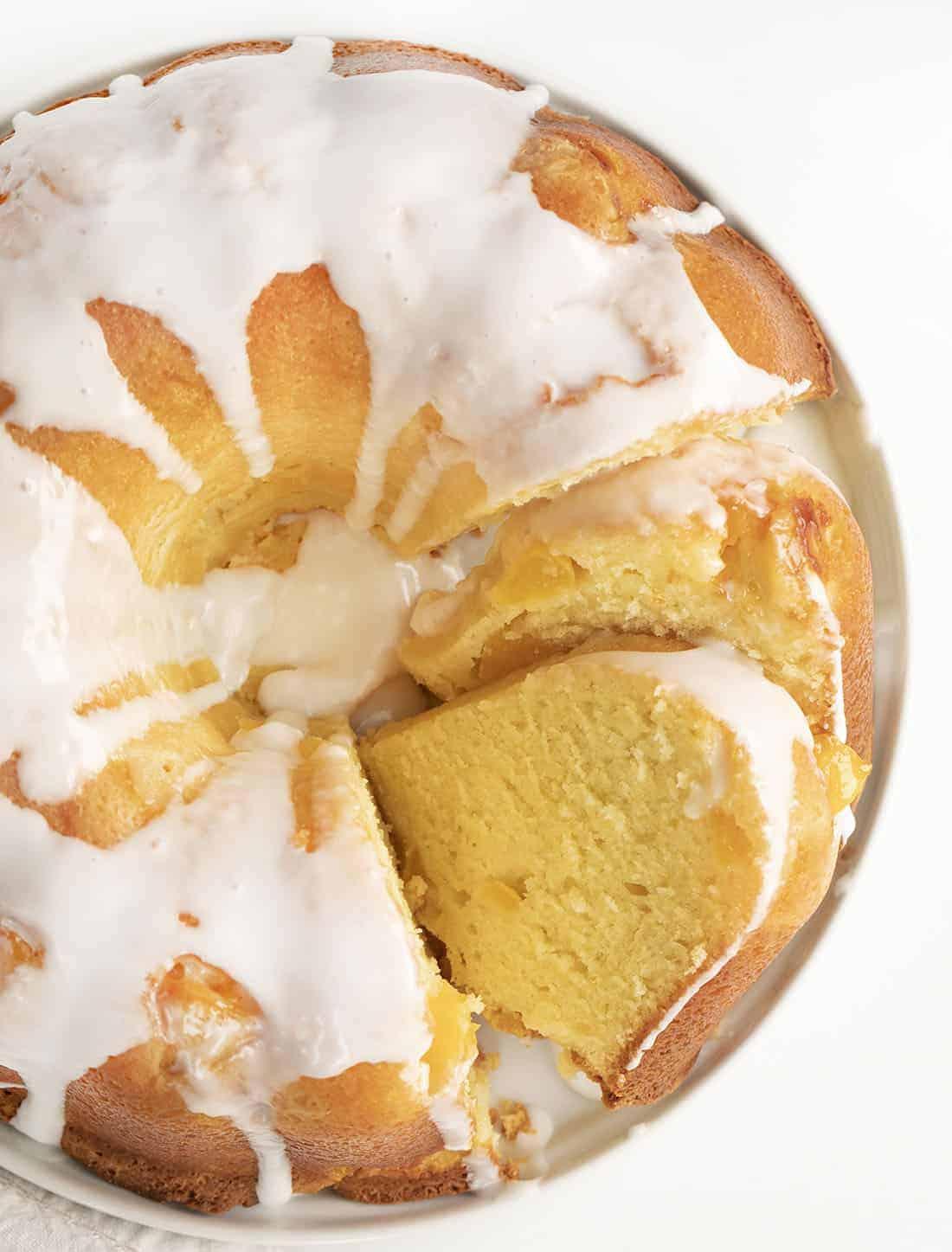 Peach Pound Cake with Vanilla Glaze Cut Into Slices
