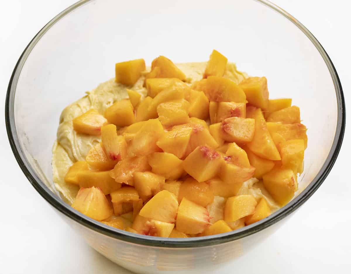 Cake Batter and Peaches in Bowl