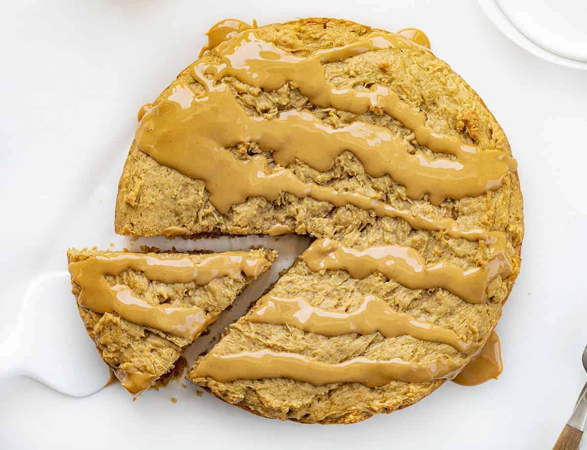 Peanut Butter Zucchini Cake With Piece Cut