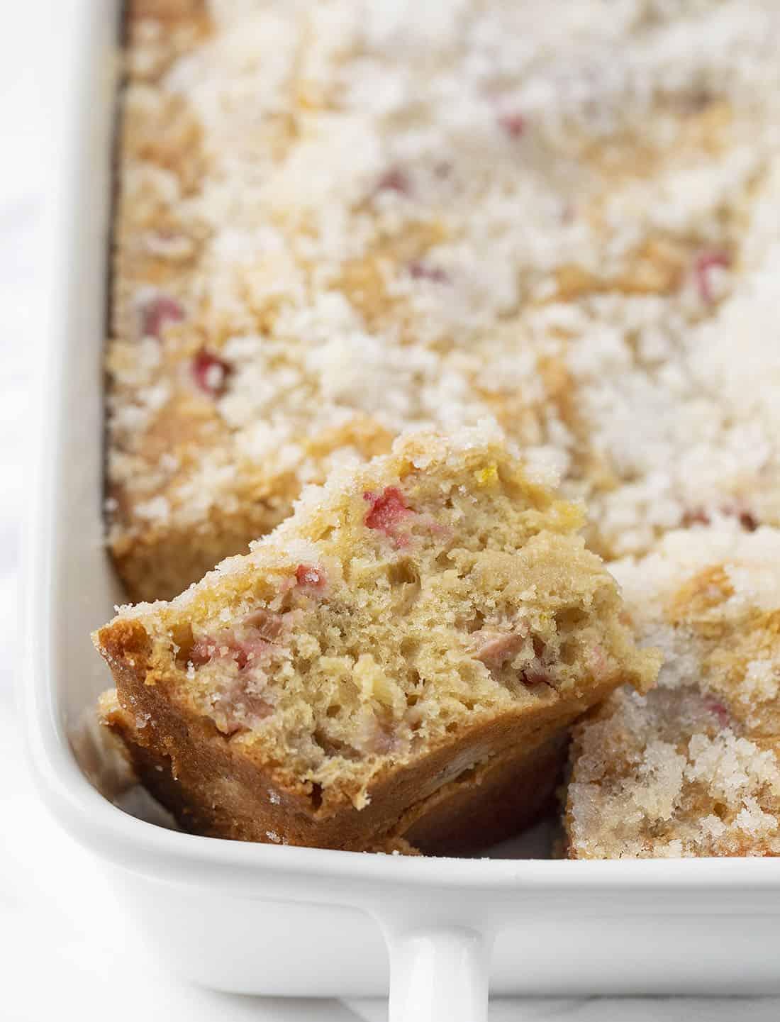 Rhubarb Cake in Pan