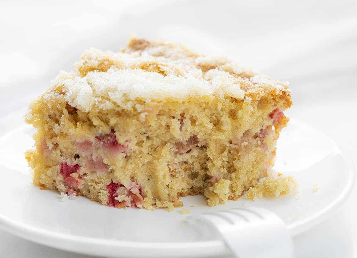 Piece of Rhubarb Cake with Bite Taken Out