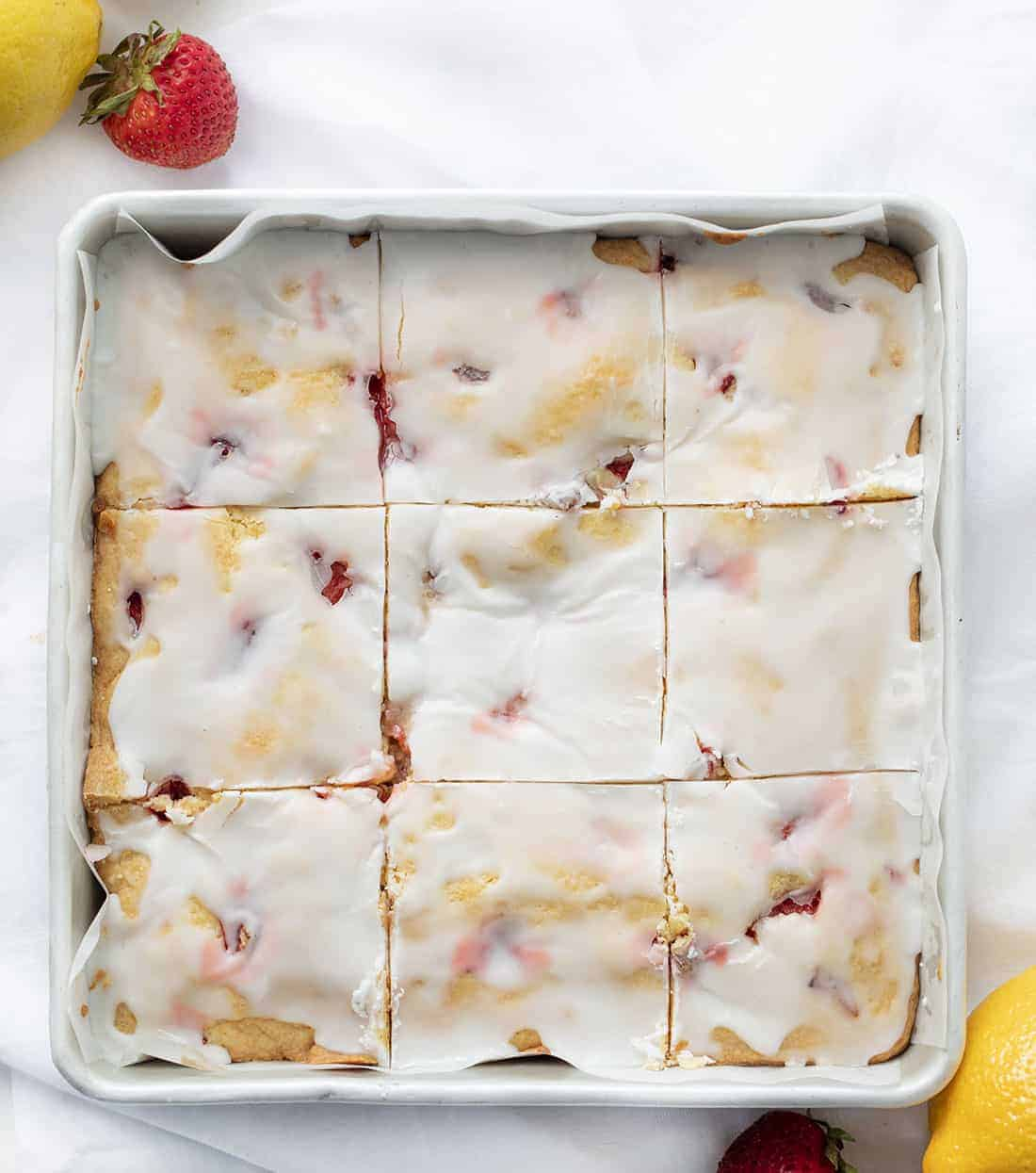 Pan of Strawberry Lemon Blondies Cut Into Squares