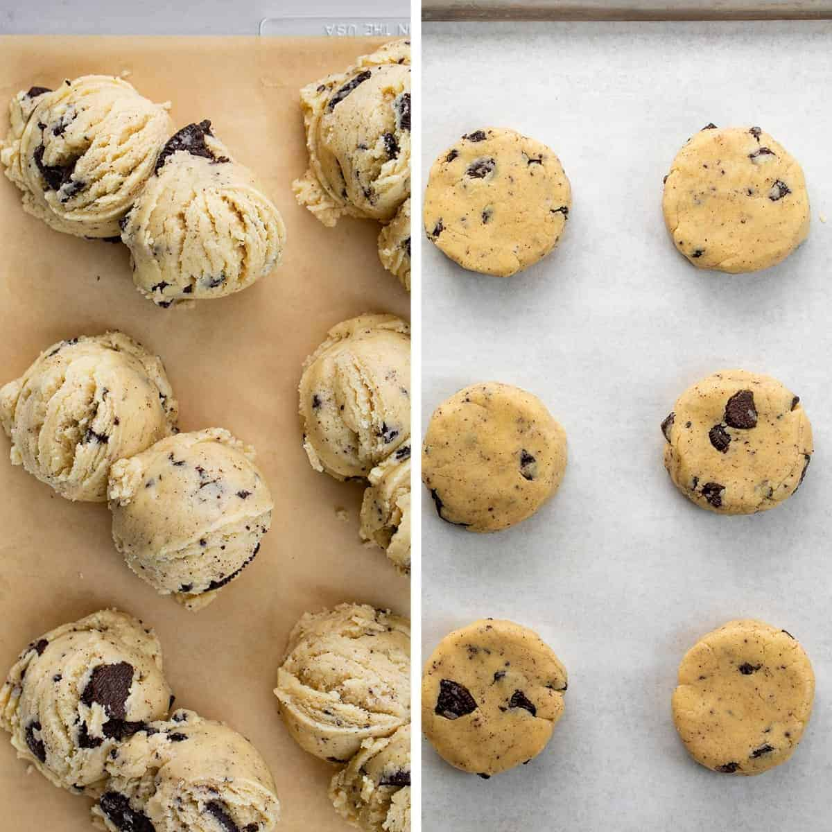 Process for how much batter and how to flatten cookies and cream cookies