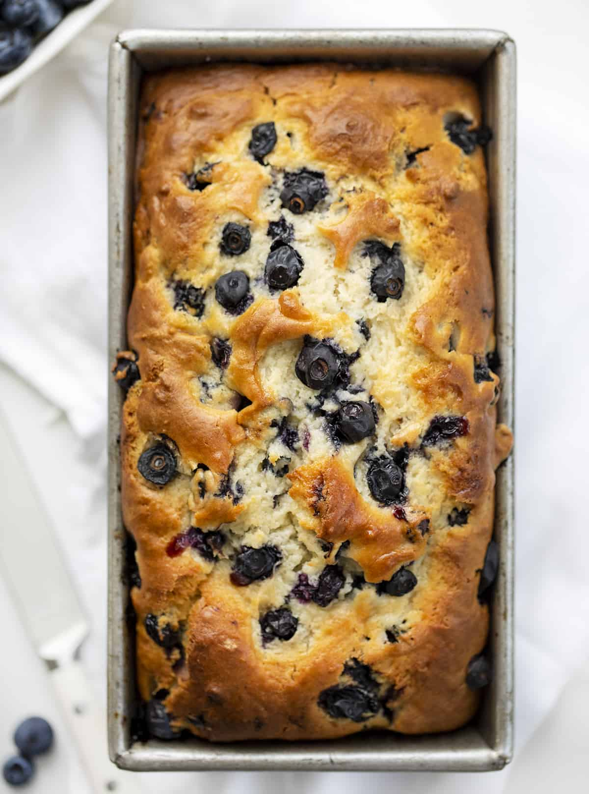 Overhead of Easy Blueberry Bread in Pan
