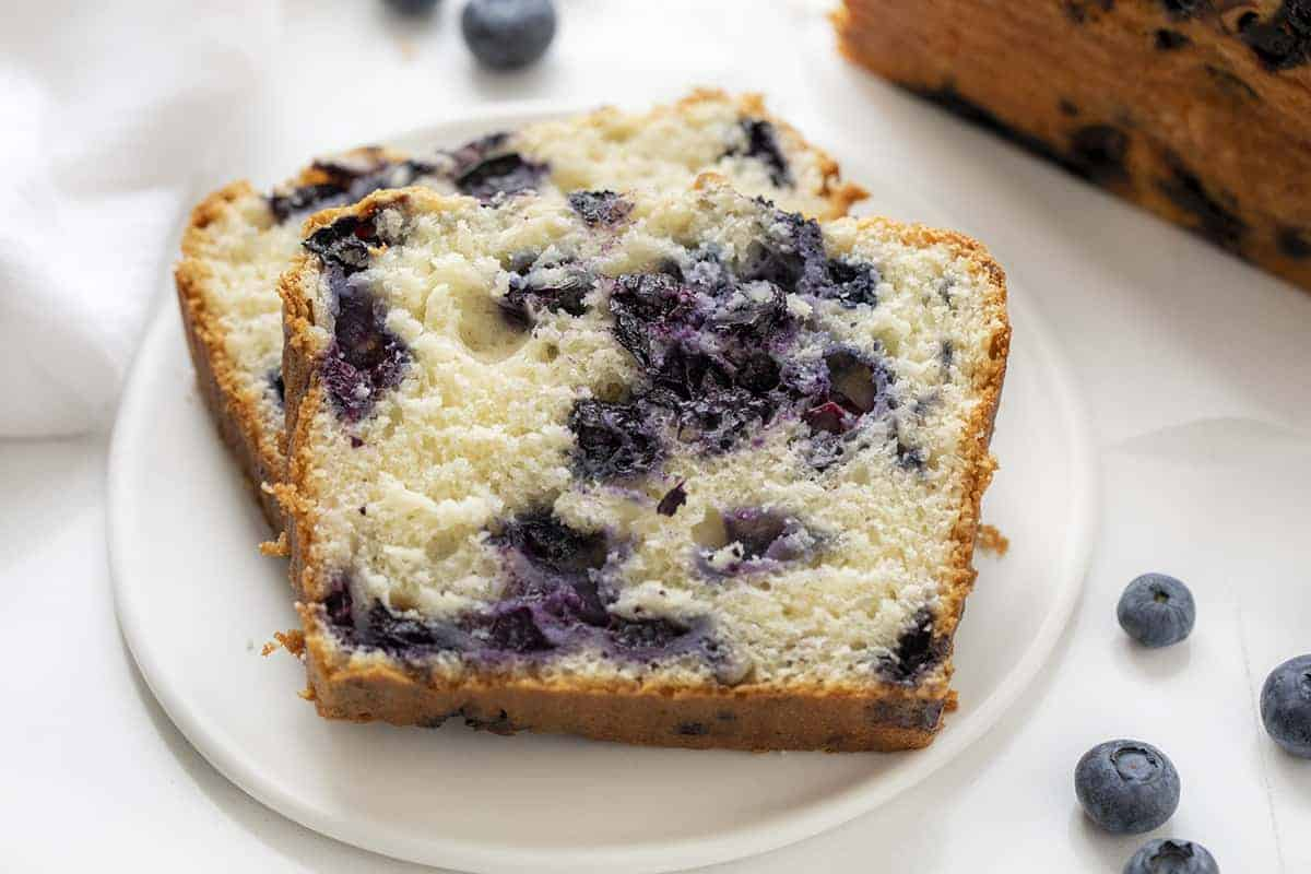 Slices Blueberry Bread on Plate