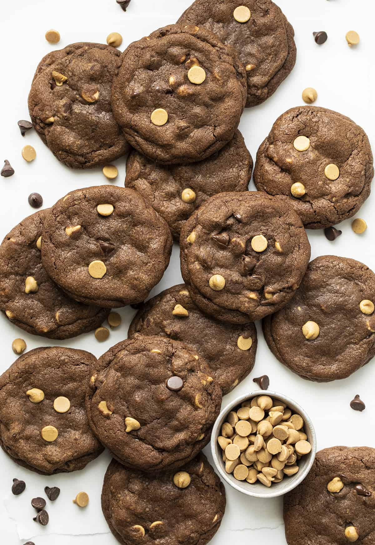 Overhead of Chocolate Peanut Butter Chip Cookies