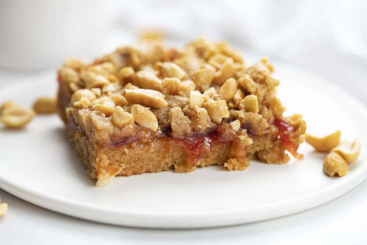 Peanut Butter and Jelly Bar on a Plate