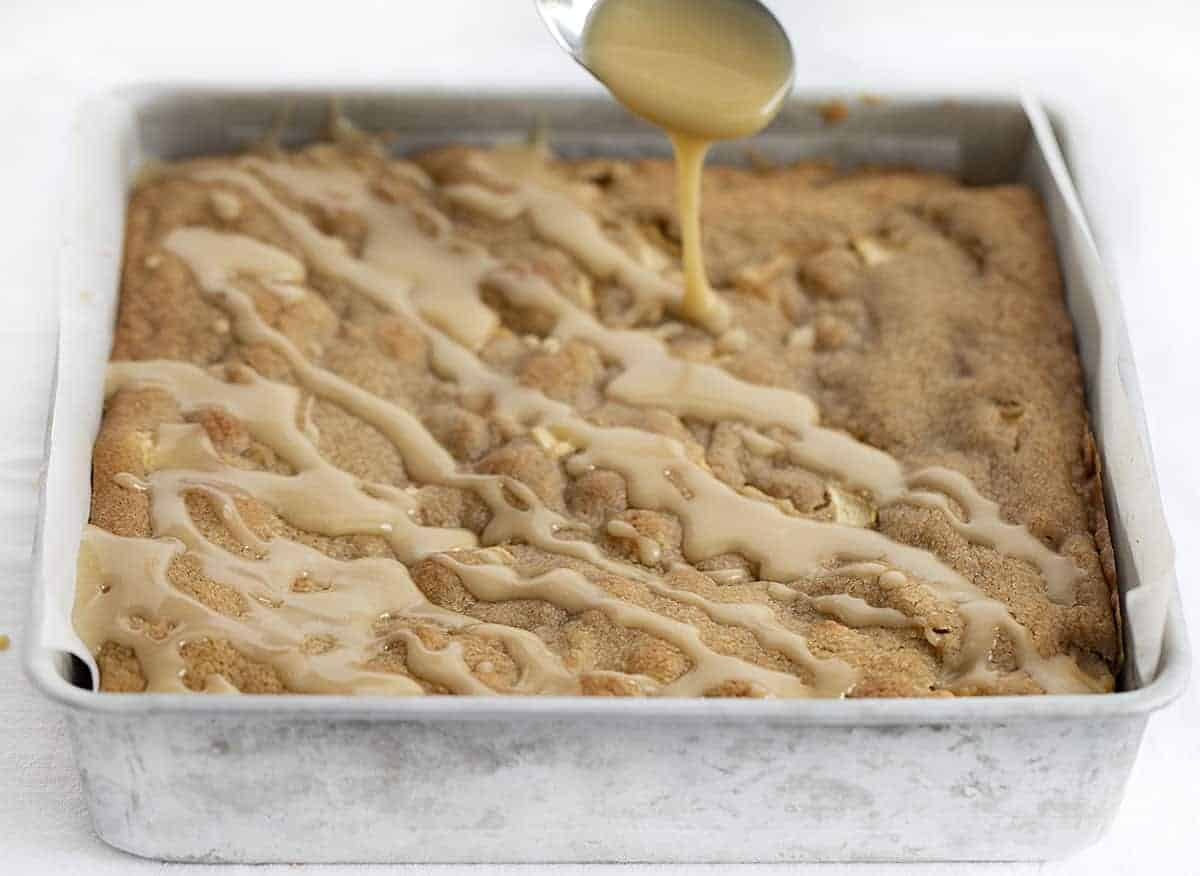 Drizzling Maple Glaze over Apple Blondies