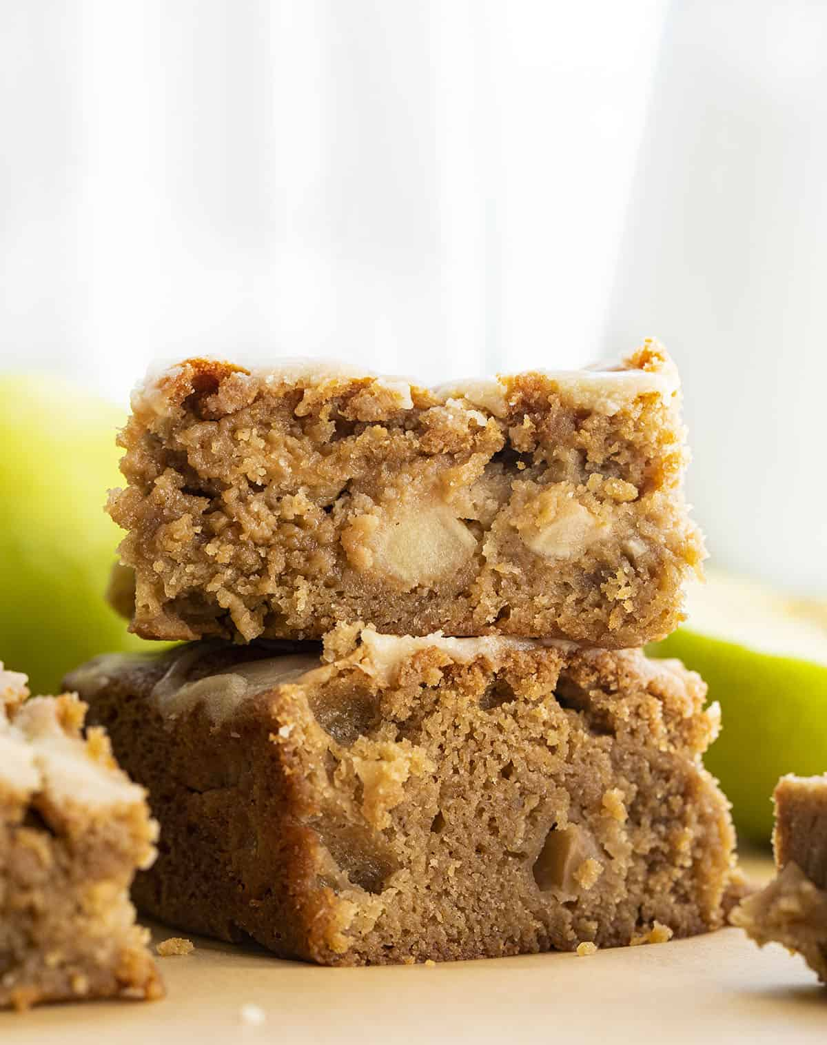 Stacked Apple Blondies with Maple Glaze